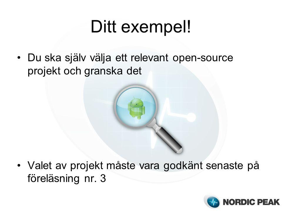 Ditt exempel. Du ska själv välja ett relevant open-source projekt och granska det.