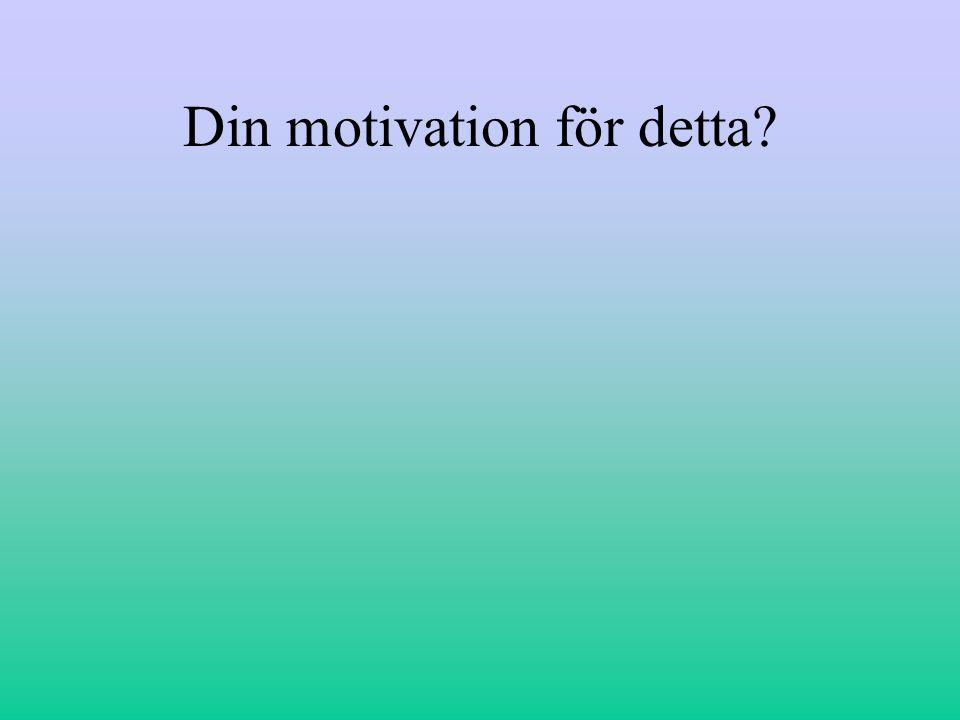 Din motivation för detta
