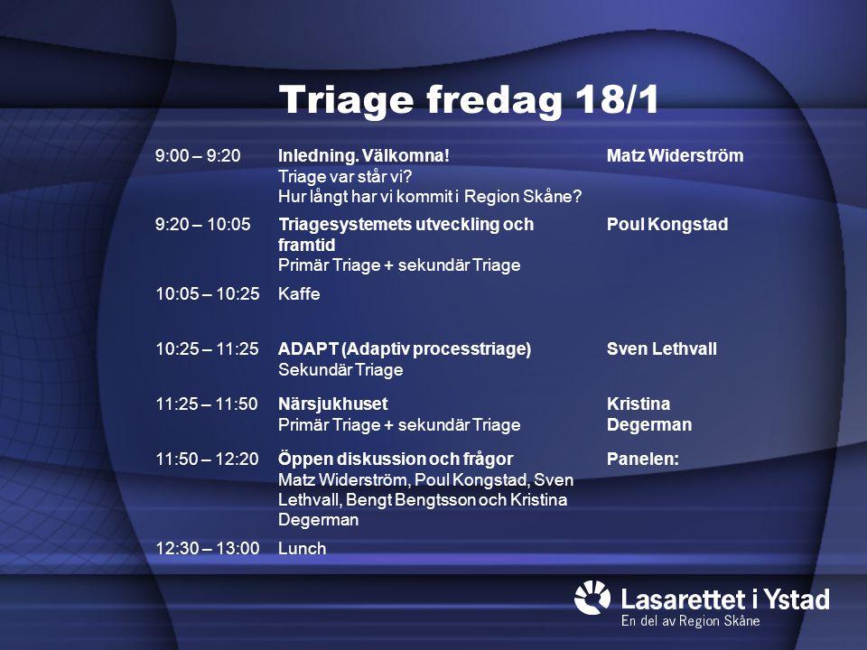 Triage fredag 18/1 9:00 – 9:20. Inledning. Välkomna! Triage var står vi Hur långt har vi kommit i Region Skåne