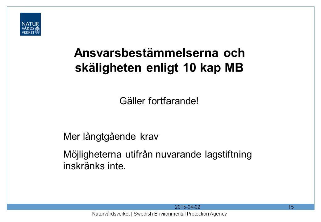 Ansvarsbestämmelserna och skäligheten enligt 10 kap MB