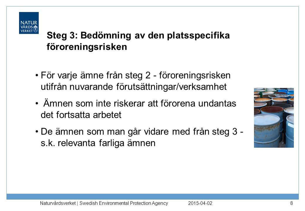 Steg 3: Bedömning av den platsspecifika föroreningsrisken