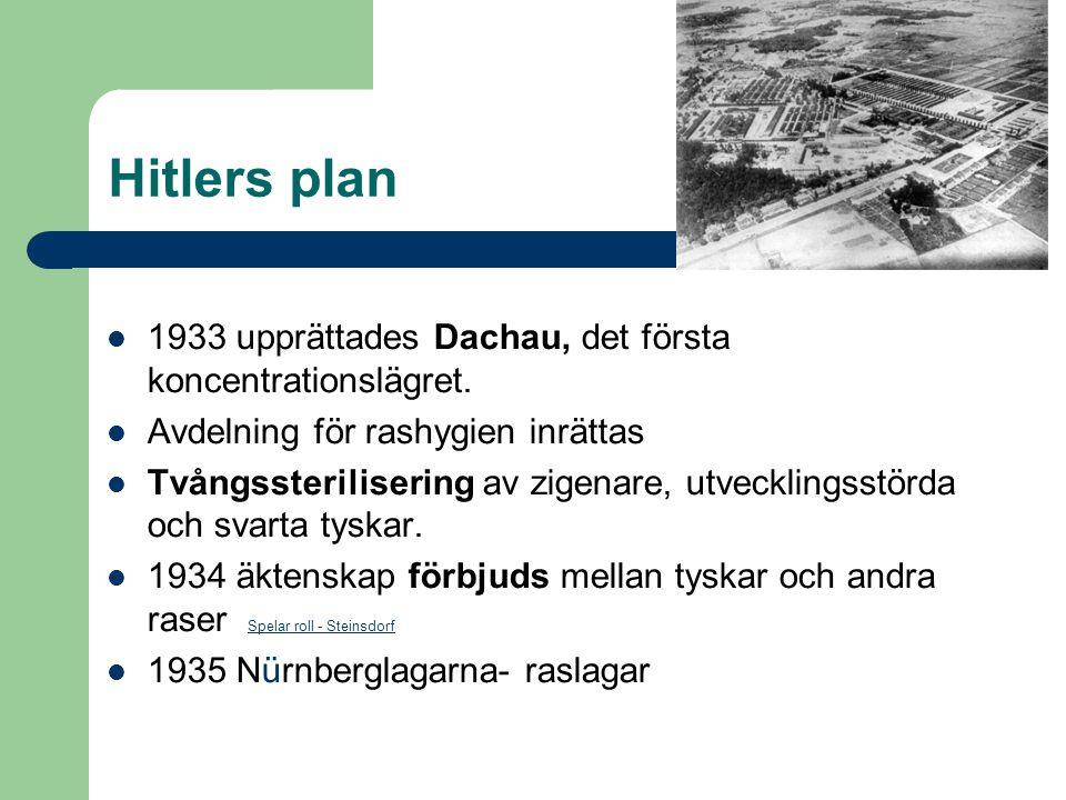 Hitlers plan 1933 upprättades Dachau, det första koncentrationslägret.