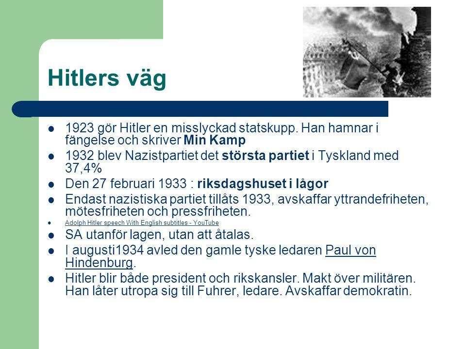 Hitlers väg 1923 gör Hitler en misslyckad statskupp. Han hamnar i fängelse och skriver Min Kamp.