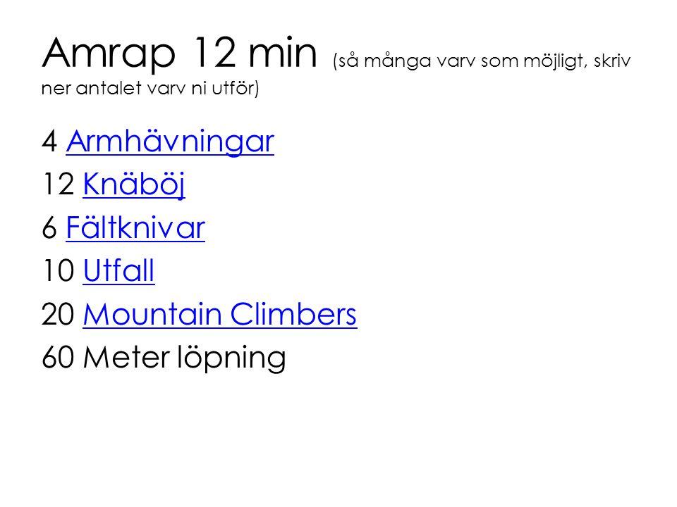 Amrap 12 min (så många varv som möjligt, skriv ner antalet varv ni utför)