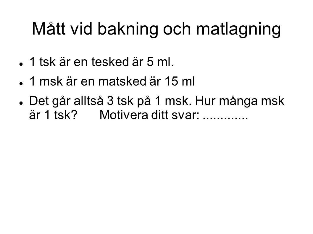 Mått vid bakning och matlagning