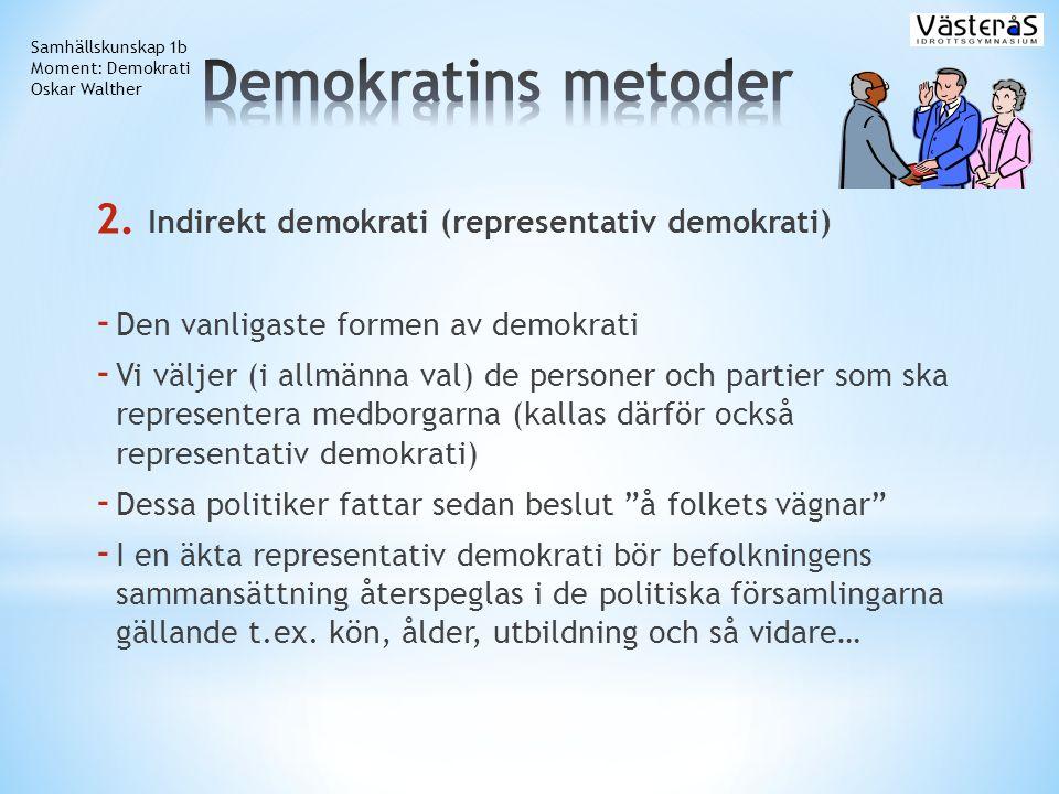 Demokratins metoder Indirekt demokrati (representativ demokrati)
