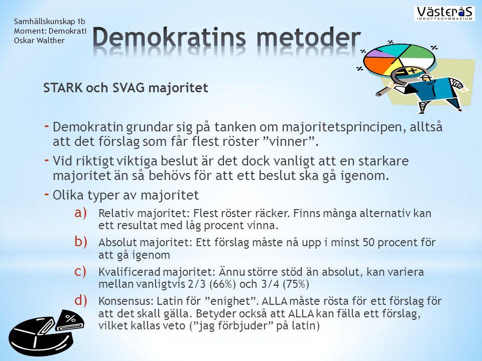 Demokratins metoder STARK och SVAG majoritet