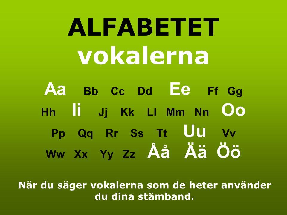 När du säger vokalerna som de heter använder du dina stämband.