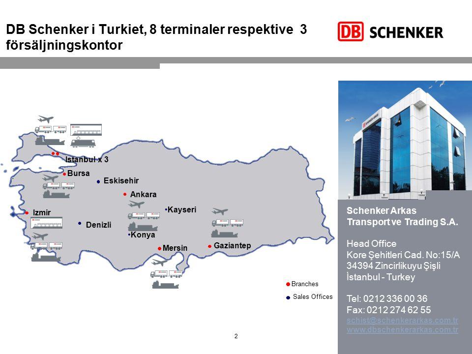 DB Schenker i Turkiet, 8 terminaler respektive 3 försäljningskontor
