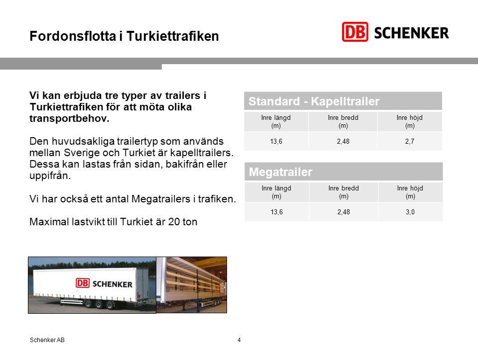 Fordonsflotta i Turkiettrafiken