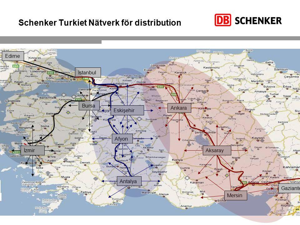 Schenker Turkiet Nätverk för distribution