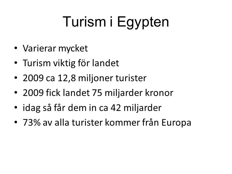 Turism i Egypten Varierar mycket Turism viktig för landet