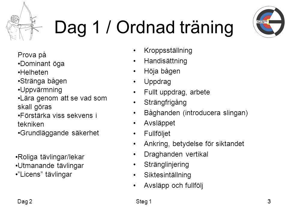 Dag 1 / Ordnad träning Kroppsställning Prova på Handisättning