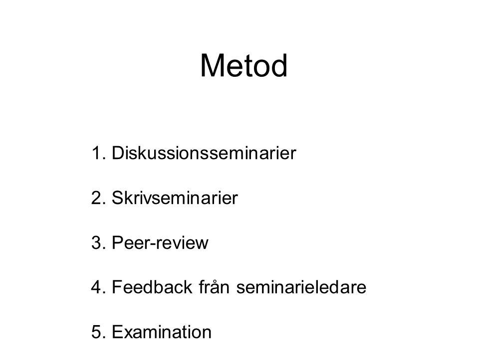 Metod 1. Diskussionsseminarier 2. Skrivseminarier 3. Peer-review