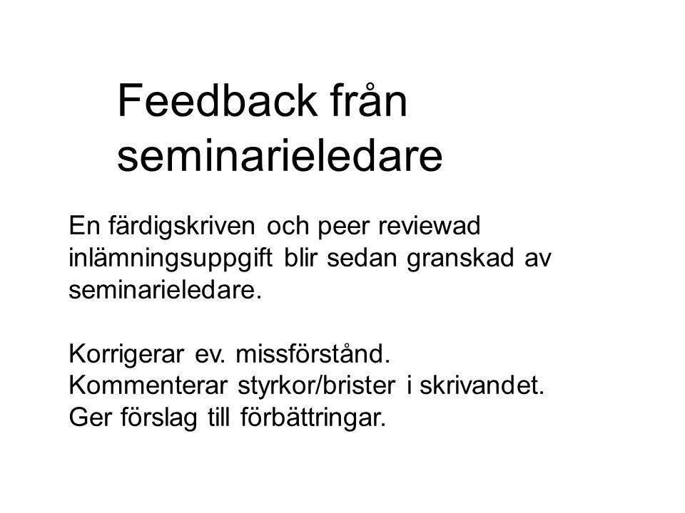 Feedback från seminarieledare