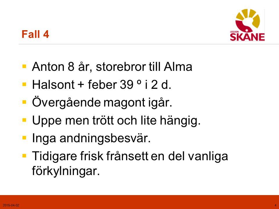 Anton 8 år, storebror till Alma Halsont + feber 39 º i 2 d.