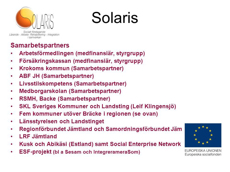 Solaris Samarbetspartners Arbetsförmedlingen (medfinansiär, styrgrupp)
