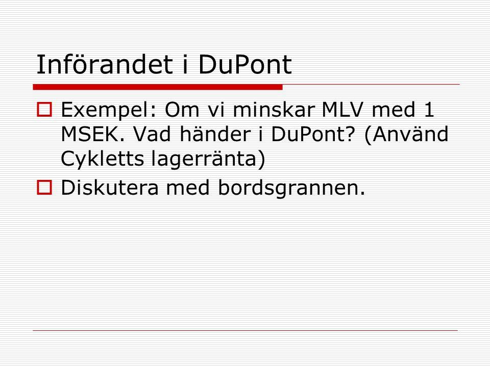 Införandet i DuPont Exempel: Om vi minskar MLV med 1 MSEK. Vad händer i DuPont (Använd Cykletts lagerränta)