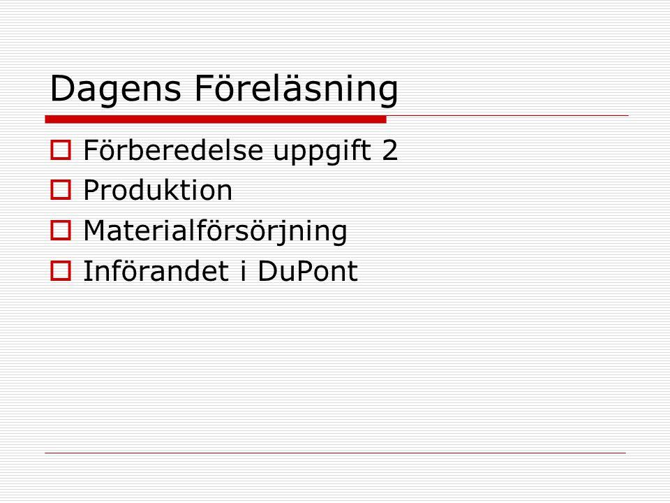 Dagens Föreläsning Förberedelse uppgift 2 Produktion