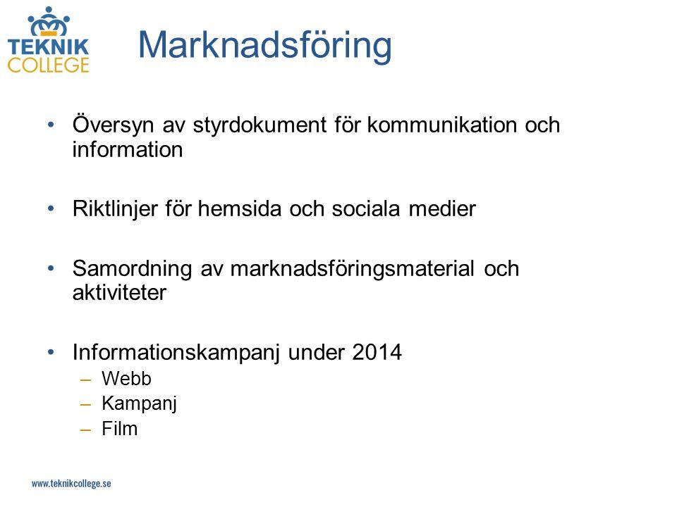 Marknadsföring Översyn av styrdokument för kommunikation och information. Riktlinjer för hemsida och sociala medier.