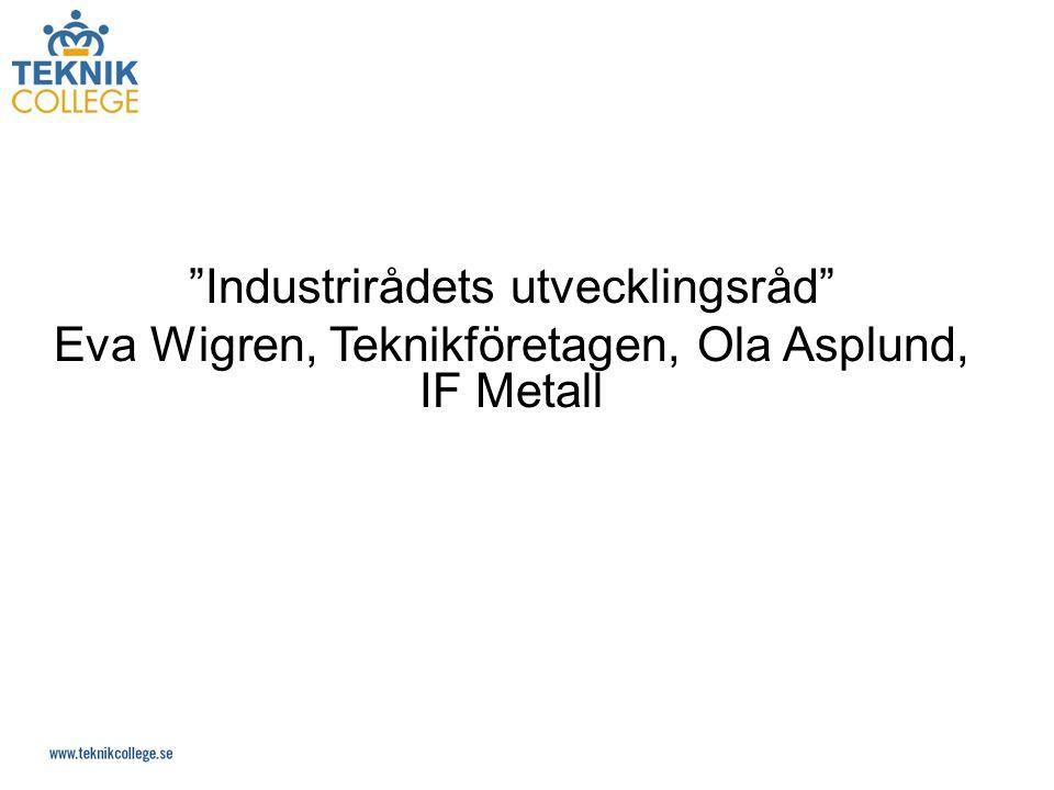 Industrirådets utvecklingsråd Eva Wigren, Teknikföretagen, Ola Asplund, IF Metall