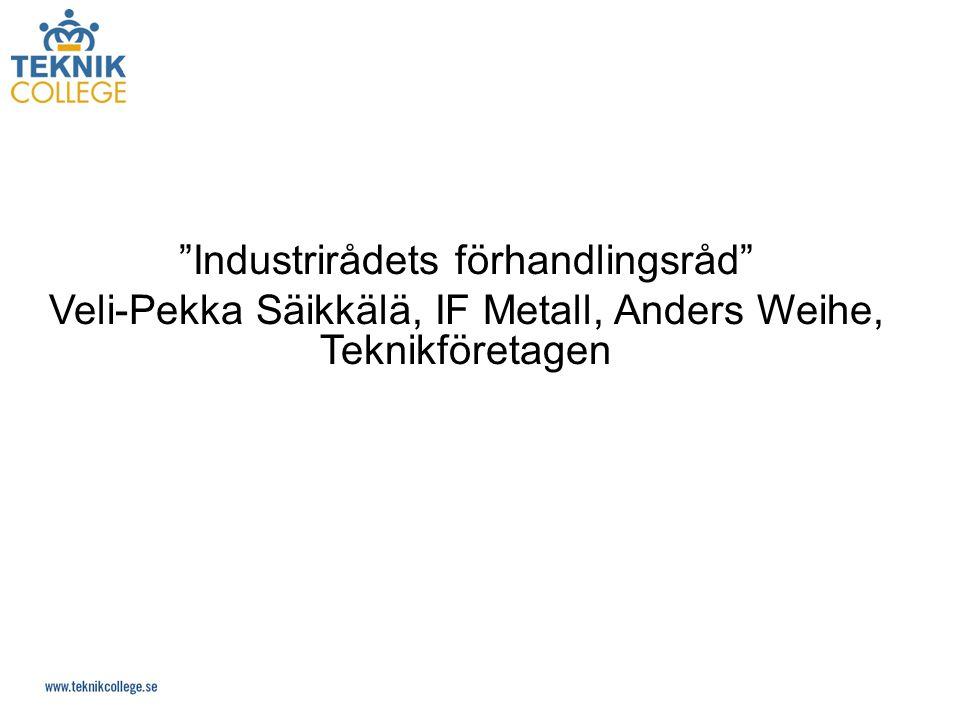 Industrirådets förhandlingsråd Veli-Pekka Säikkälä, IF Metall, Anders Weihe, Teknikföretagen