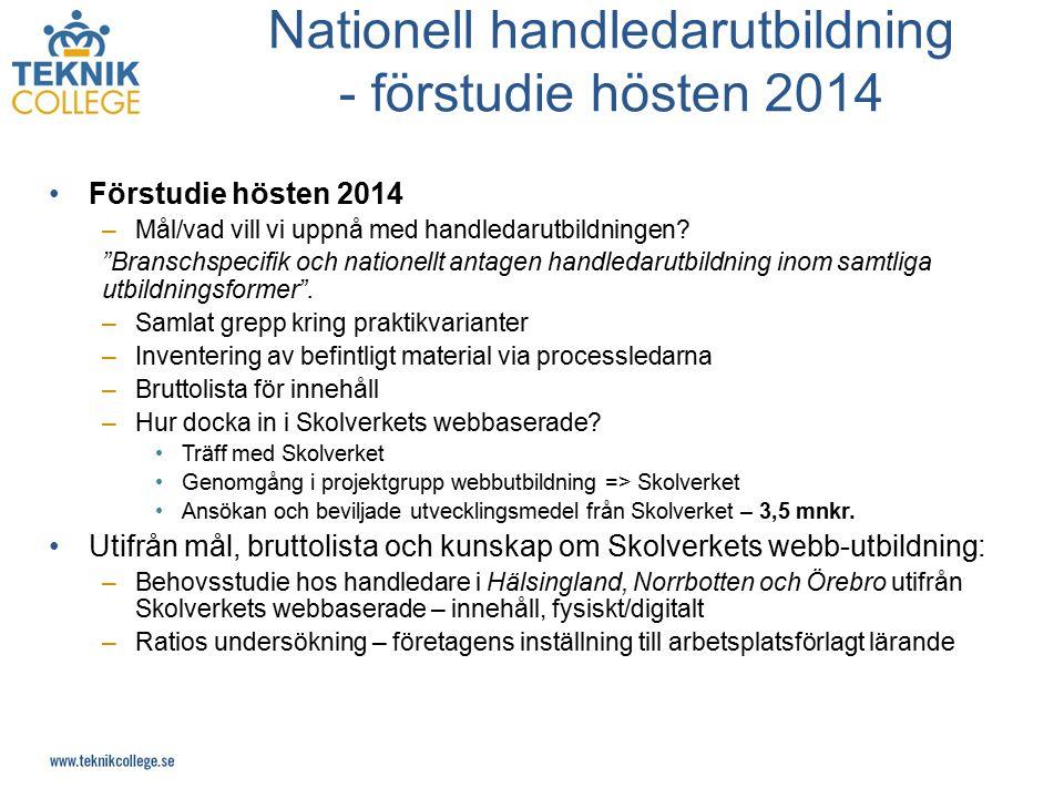 Nationell handledarutbildning - förstudie hösten 2014