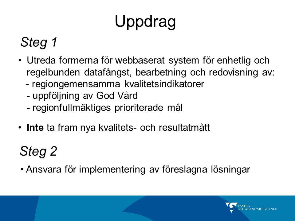 Uppdrag Steg 1. Utreda formerna för webbaserat system för enhetlig och. regelbunden datafångst, bearbetning och redovisning av: