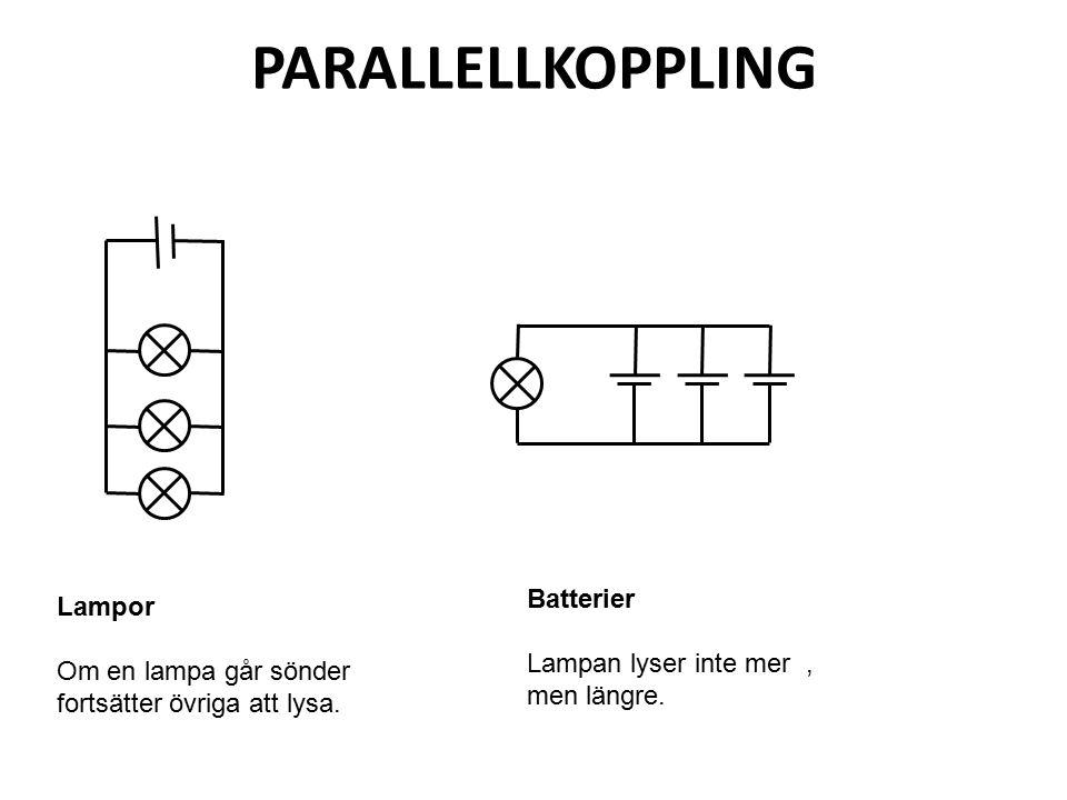 PARALLELLKOPPLING Batterier Lampor Lampan lyser inte mer , men längre.
