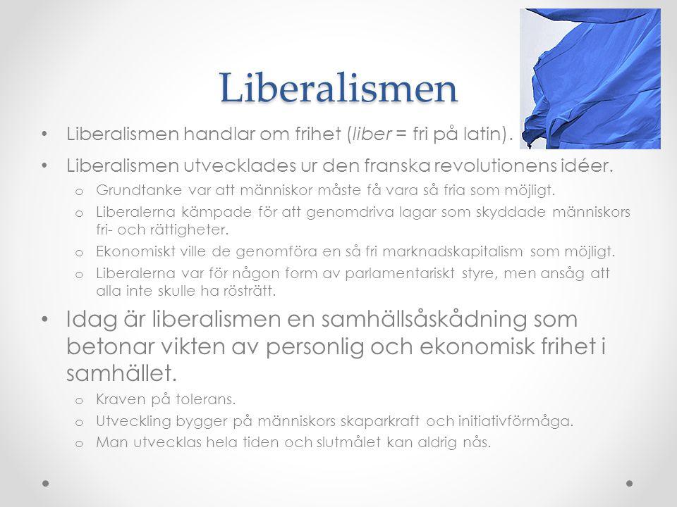 Liberalismen Liberalismen handlar om frihet (liber = fri på latin). Liberalismen utvecklades ur den franska revolutionens idéer.