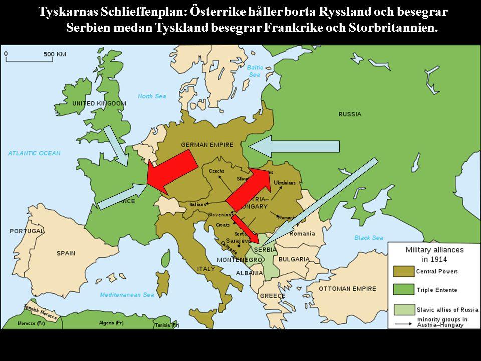 Tyskarnas Schlieffenplan: Österrike håller borta Ryssland och besegrar