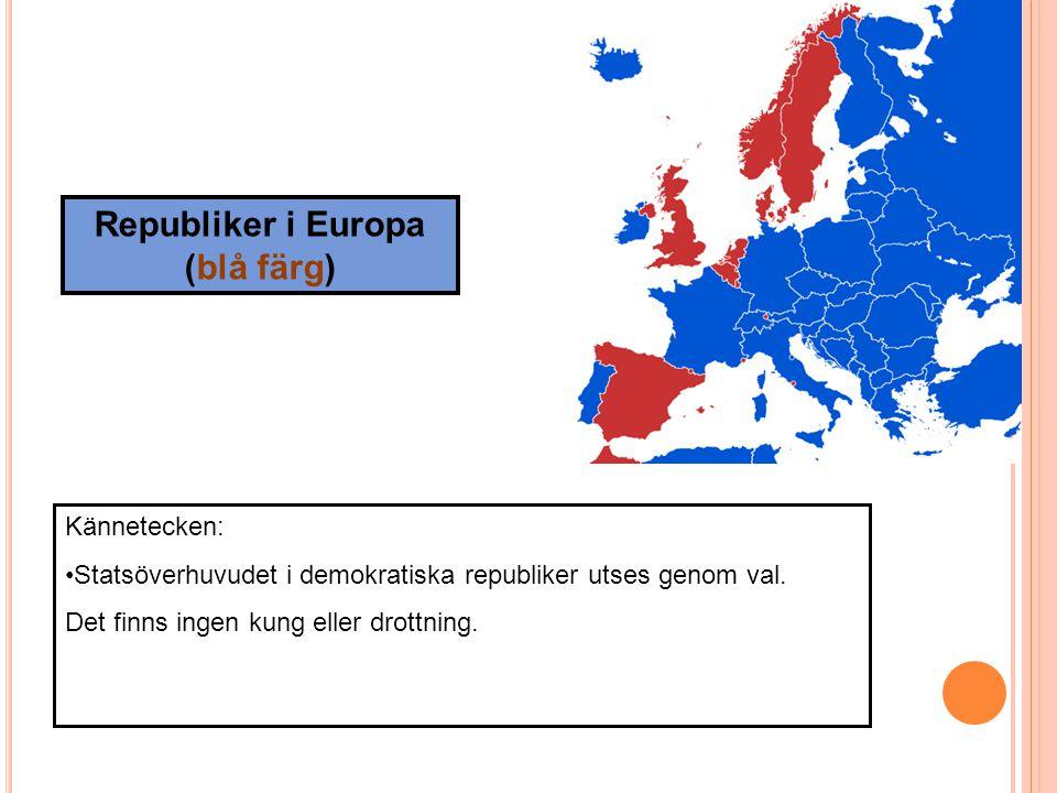 Republiker i Europa (blå färg)