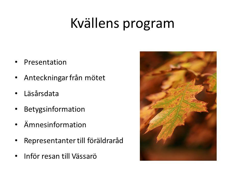 Kvällens program Presentation Anteckningar från mötet Läsårsdata