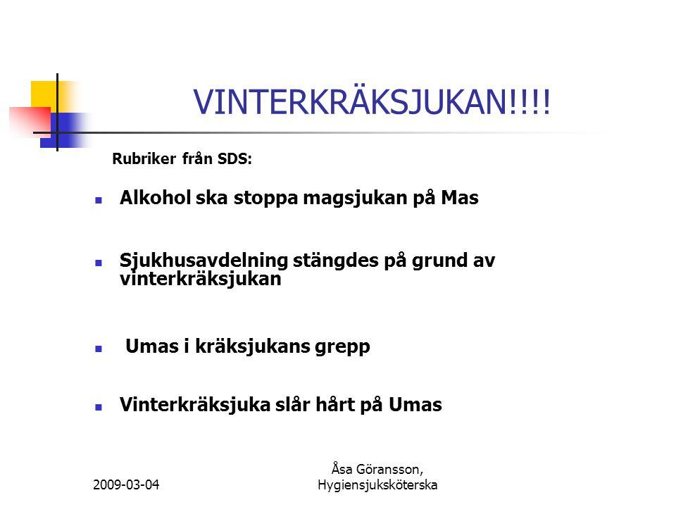 Åsa Göransson, Hygiensjuksköterska