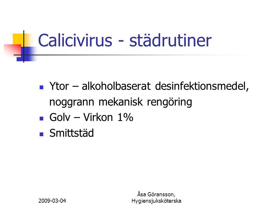 Calicivirus - städrutiner