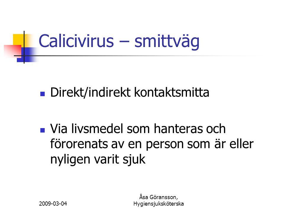 Calicivirus – smittväg