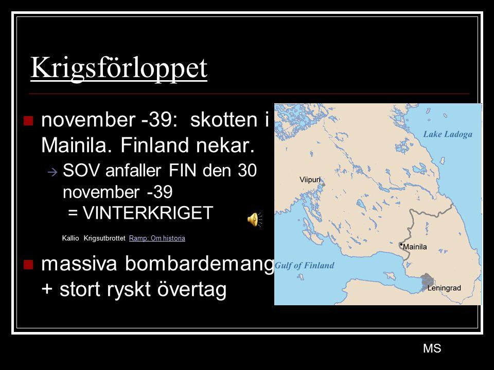 Krigsförloppet november -39: skotten i Mainila. Finland nekar.