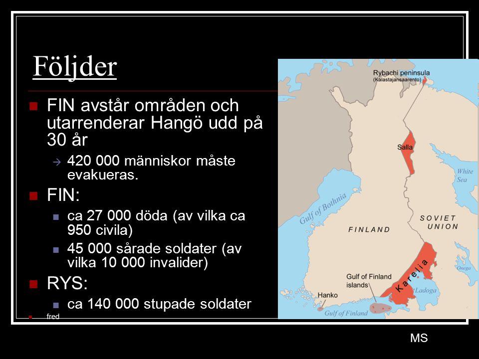 Följder FIN avstår områden och utarrenderar Hangö udd på 30 år FIN: