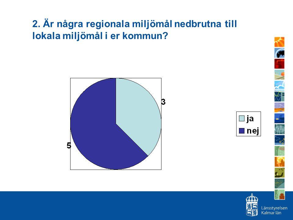 2. Är några regionala miljömål nedbrutna till lokala miljömål i er kommun