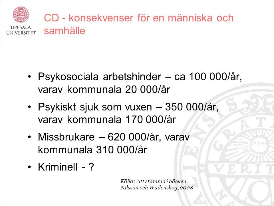 CD - konsekvenser för en människa och samhälle