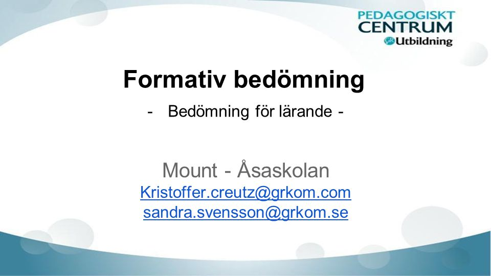 Vilka är vi GR Utbildning Pedagogiskt Centrum Sandra Svensson