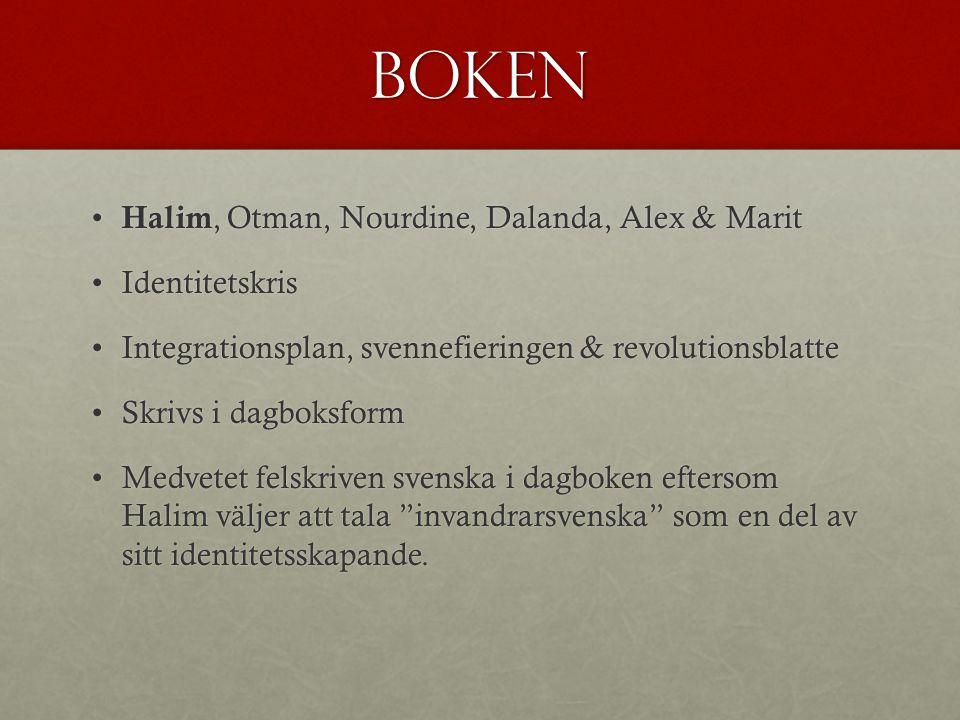 Boken Halim, Otman, Nourdine, Dalanda, Alex & Marit Identitetskris