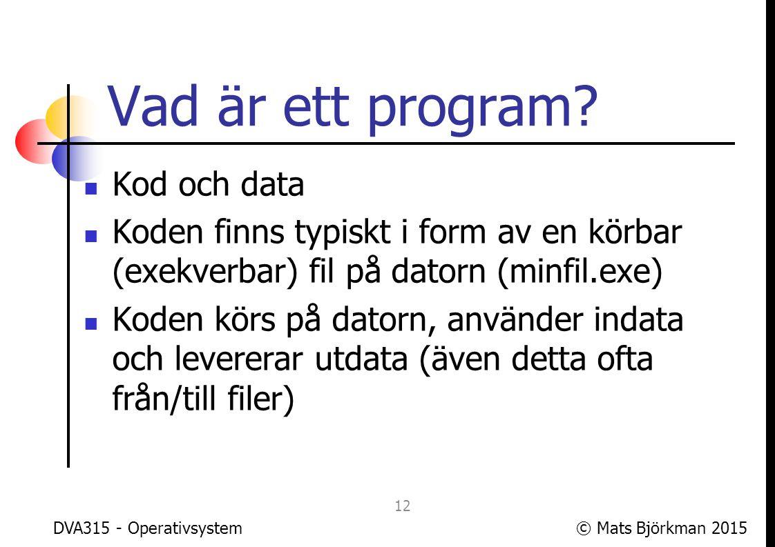 Vad är ett program Kod och data