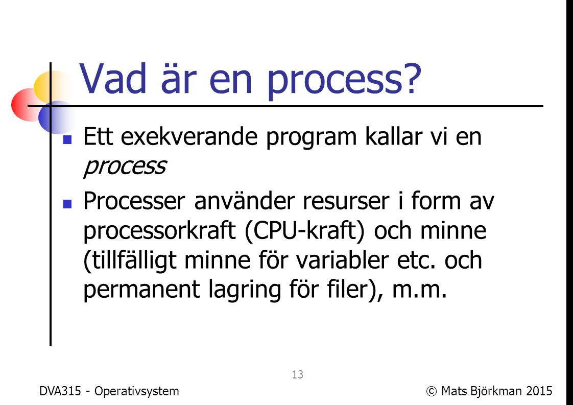 Vad är en process Ett exekverande program kallar vi en process