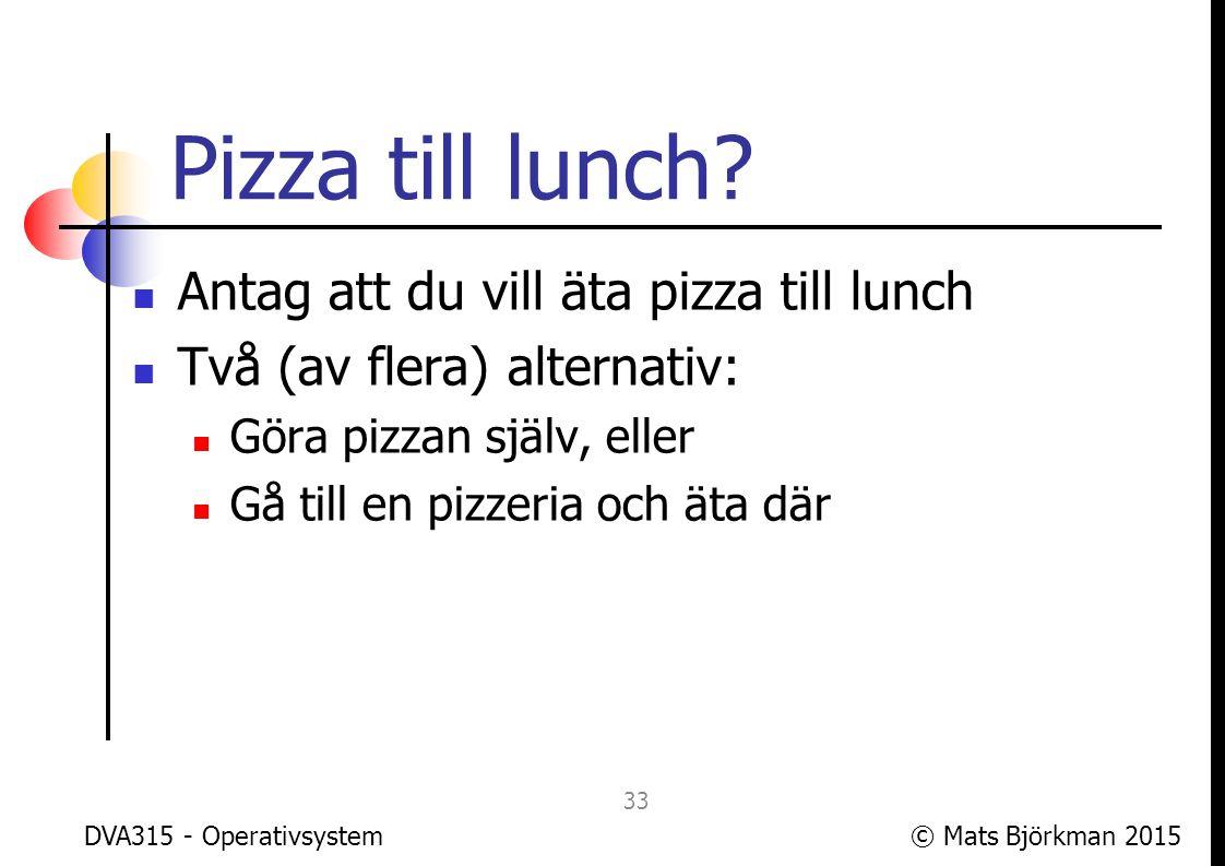 Pizza till lunch Antag att du vill äta pizza till lunch