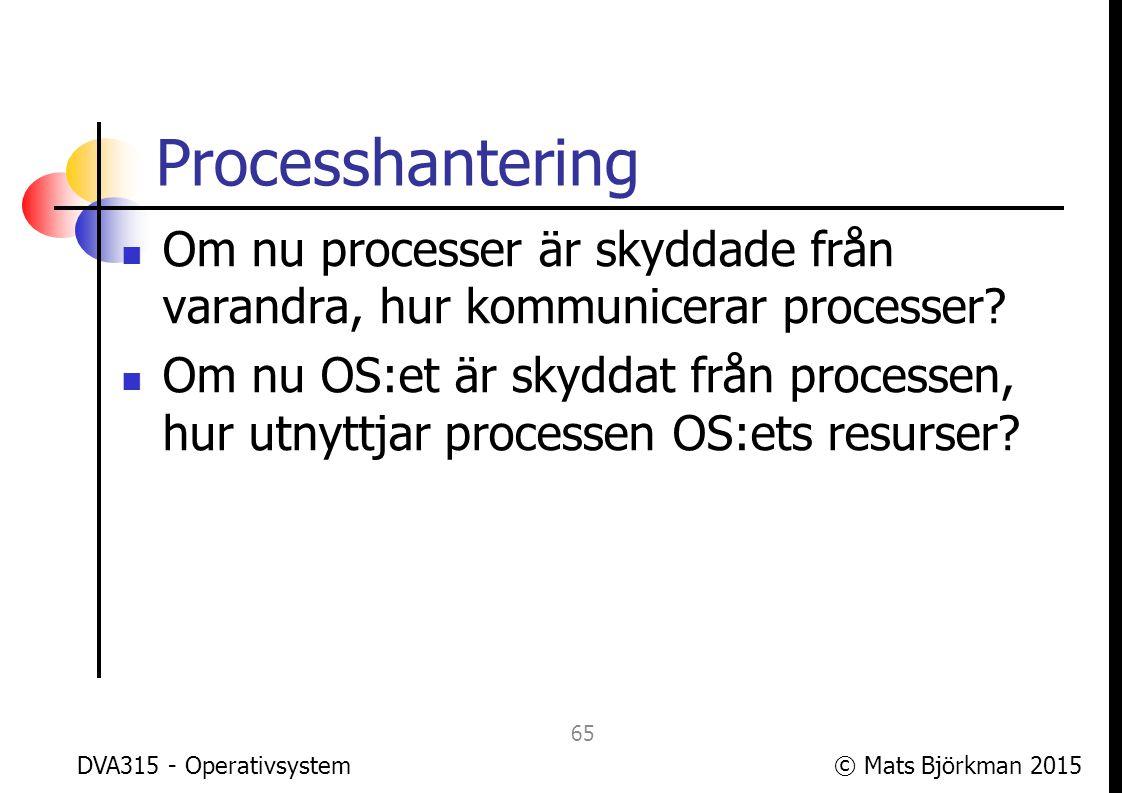 Processhantering Om nu processer är skyddade från varandra, hur kommunicerar processer