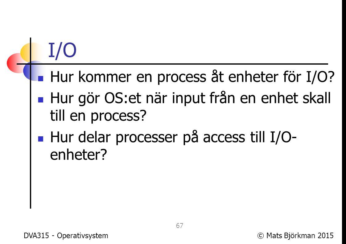 I/O Hur kommer en process åt enheter för I/O