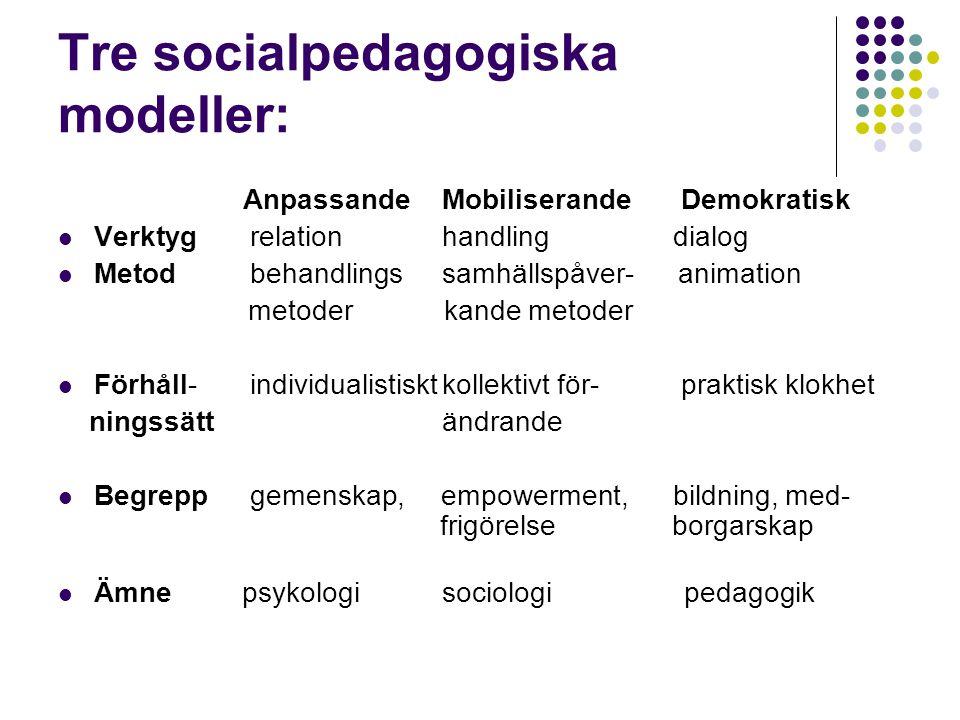 Tre socialpedagogiska modeller: