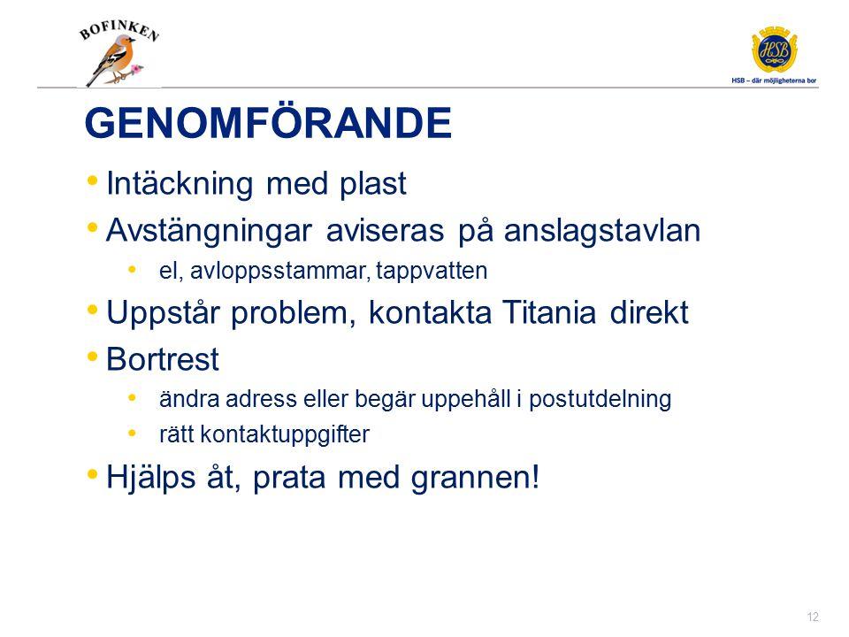Exempel på avisering från Titania
