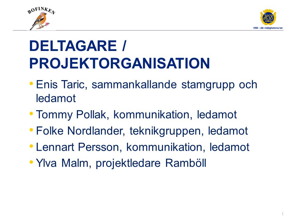 Program Status i projektet